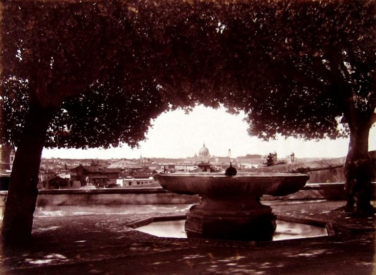 Old photograph of the Fountain of the Cannonball, Villa Medici, Rome