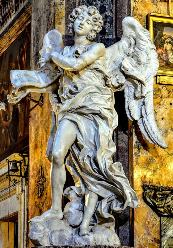 Angel with Titulus by Bernini, church of Sant' Andrea delle Fratte, Rome