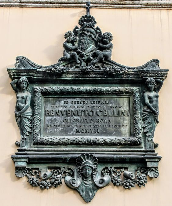 Bronze plaque to the goldsmith & sculptor Benvenuto Cellini, Rome