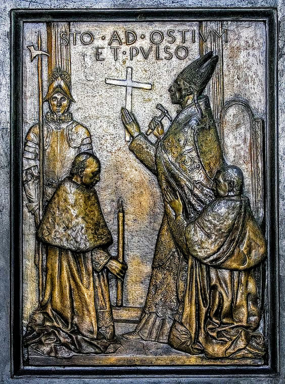 Relief of Pope Pius XII opening the Holy Door, Porta Santa, St Peter's Basilica, Rome