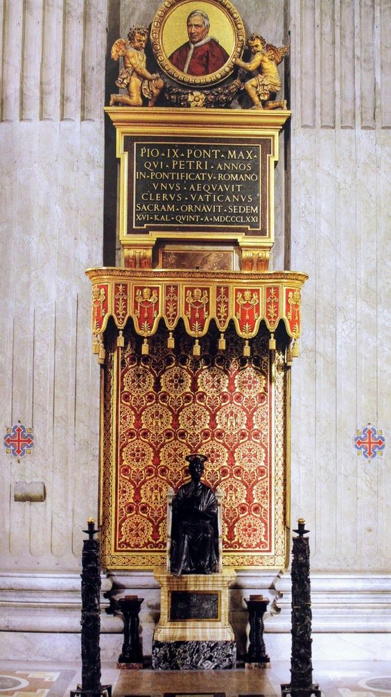 Bronze statue of St Peter & Medallion to Pope Pius IX, St Peter's Basilica, Rome