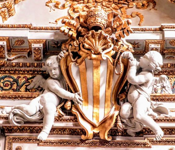 Coat of arms of Pope Benedict XIV (r. 1740-58), church of Santa Maria Maggiore, Rome