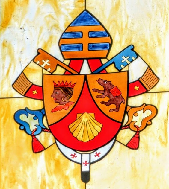 Coat of arms of Pope Benedict XVI (r. 2005-13), church of St Paul's Outside the Walls, Rome
