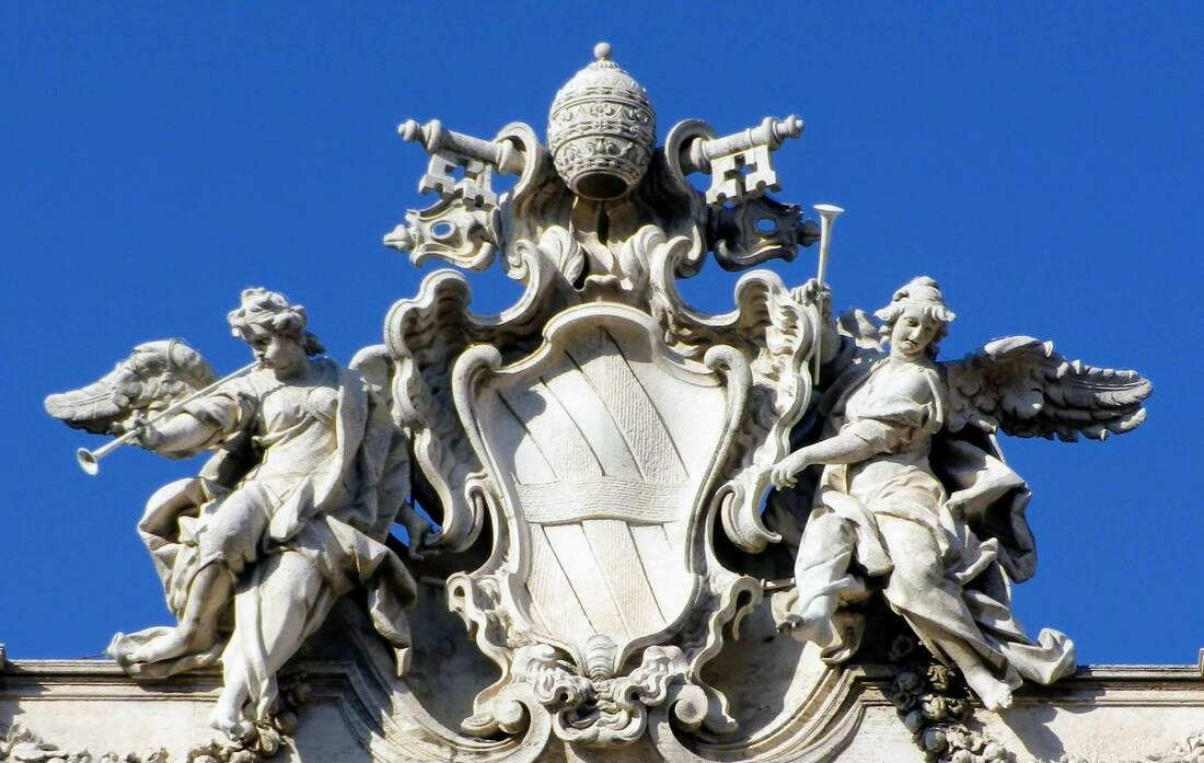 Coat of arms of Pope Clement XII, Trevi Fountain, RomePicture
