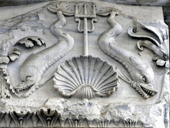 Dolphin and trident frieze, Basilica of Neptune, Rome