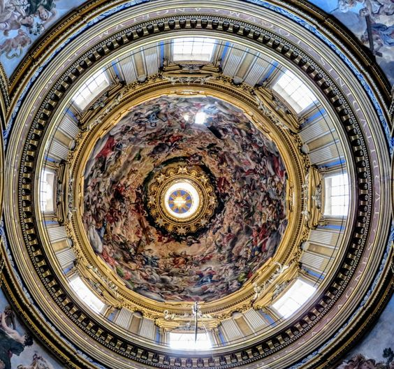 Interior of dome of church of Sant' Agnese in Agone, Rome