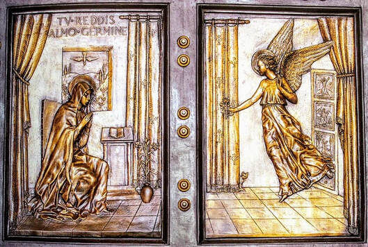 Bronze relief of the Annunciation, Porta Santa, St Peter's Basilica, Rome