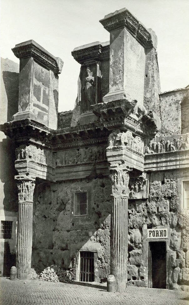Old photograph of the two 'Colonnace' before excavation, Forum of Nerva, Rome