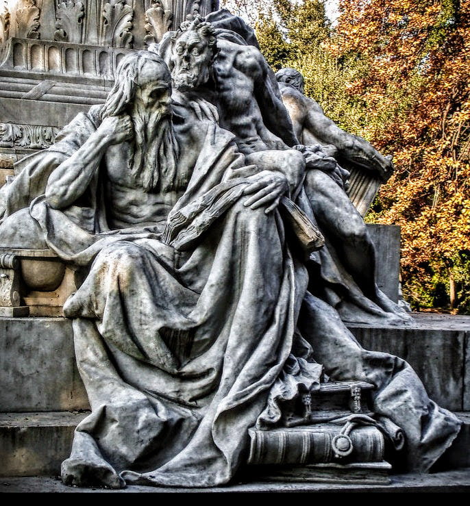 Faust and Mephistopheles, Monument to Goethe, Villa Borghese Gardens, Rome