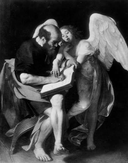 Fist version of St Matthew and the Angel by Caravaggio (destroyed), formerly Kaiser Friedrich Museum, Berlin