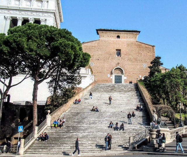 Flight of 124 steps leading up to Santa Maria in Aracoeli, Rome