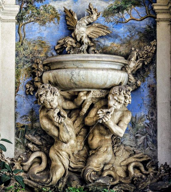 Fountain in the courtyard of the Collegio Germanico, Rome