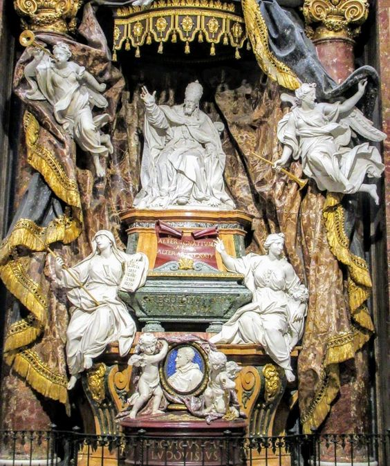 Funerary monument of Pope Gregory XV and Cardinal Ludovico Ludovisi by Pierre Legros, Sant' Ignazio, Rome
