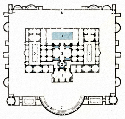 Ground-plan of the Baths of Diocletian according to Lanciani