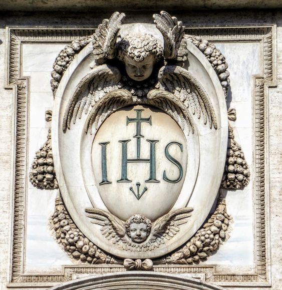 IHS (emblem of the Jesuits), facade of Chiesa del Gesu, Rome