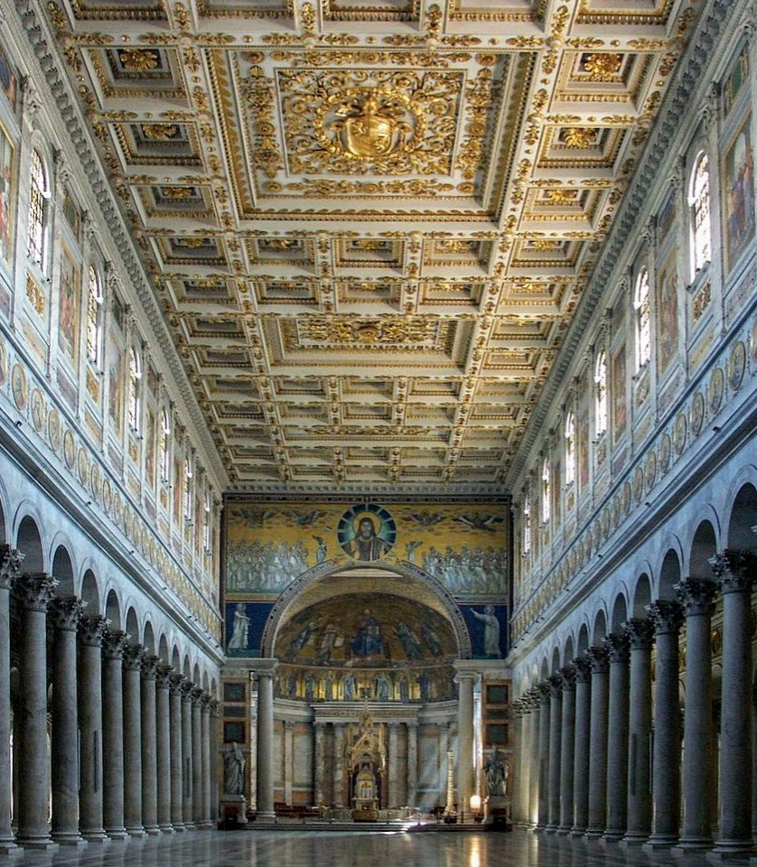Interior of the church of St Paul Outside the Walls, Rome