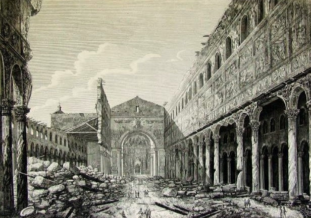 July 1823, destruction by fire of St Paul Outside the Walls, Rome.