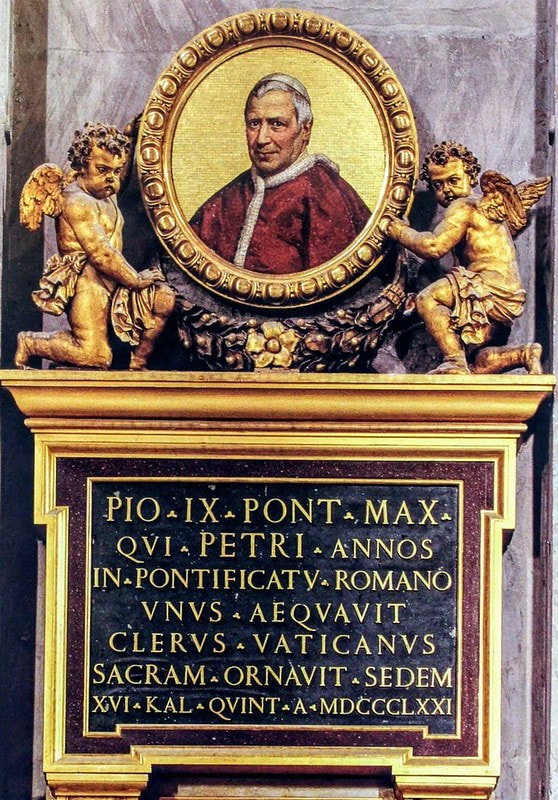 Medallion to Pope Pius IX, St Peter's Basilica, Rome