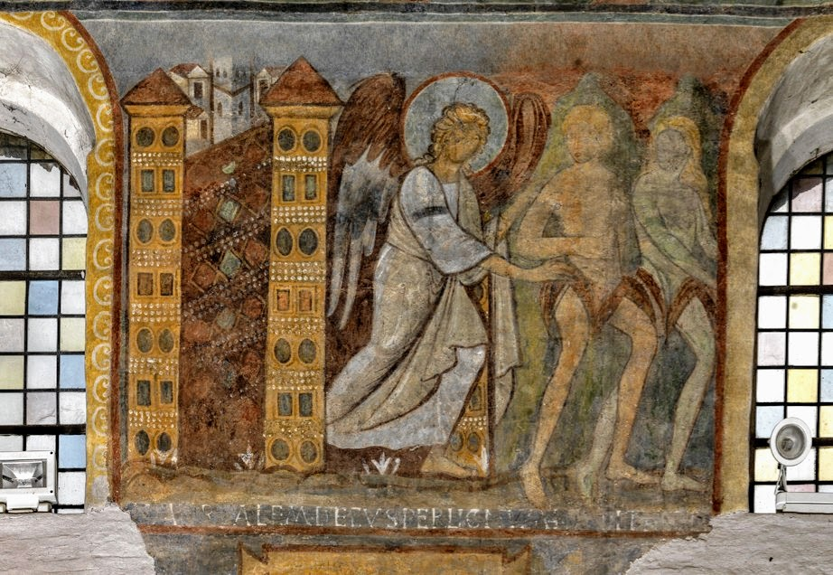 Medieval fresco of the Expulsion from the Garden of Eden, church of San Giovanni a Porta Latina, Rome