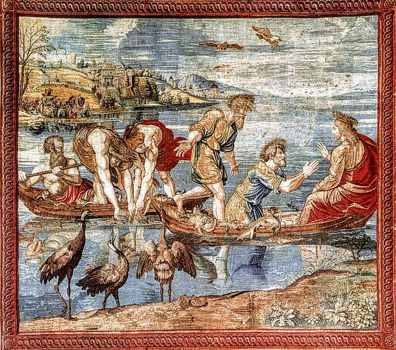 Miraculous Draught of the Fishes, tapestry by Pieter van Aelst, Vatican Museums, RomePicture