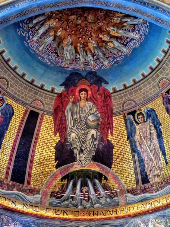 Mosaic of Christ Enthroned by Edward Burne-Jones, apse of church of St Paul's Within the Walls, Rome