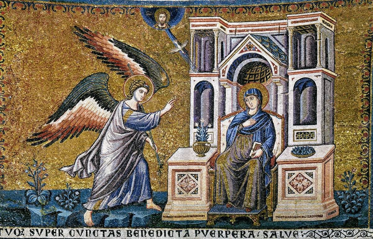 Mosaic of the Annunciation by Pietro Cavallini, Santa Maria in Trastevere, Rome