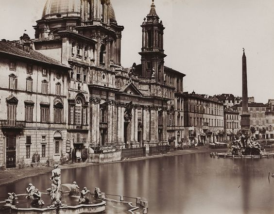 Old photograph (1858) of the 'Lago di Piazza Navona', Rome