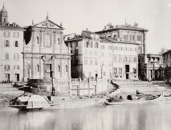 Old photograph (1865) of the Porto di Ripetta, Rome