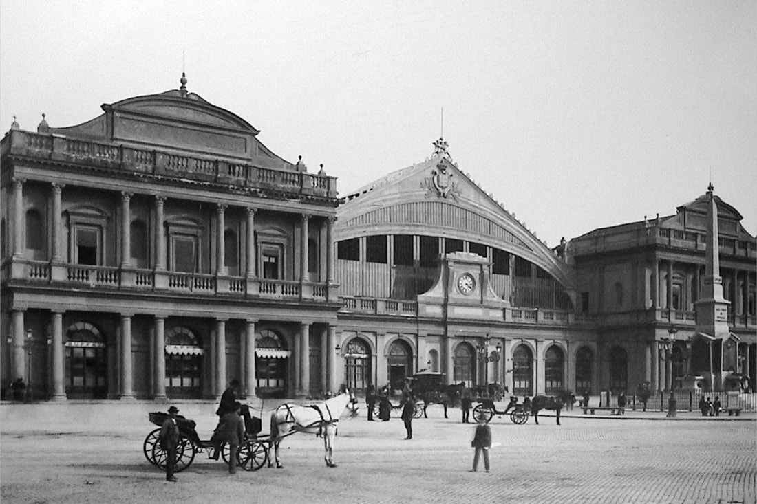 Old photograph (c. 1890) of Termini Railway Station, Rome
