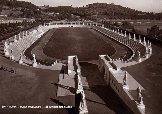 Old photograph of the Stadio dei Marmi (Stadium of Marbles), Rome
