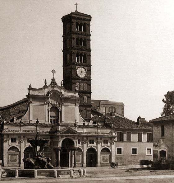 Old photograph of the church of Santa Maria in Cosmedin, Rome