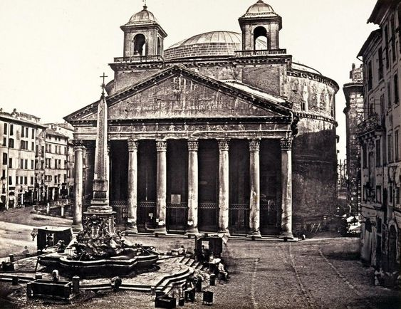 Old photograph of the Pantheon (with its 17th century bell towers), Rome