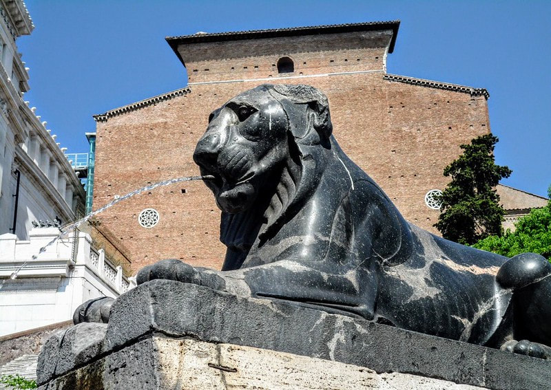 One of the two Fountains of the Egyptian Lions, Cordonata del Campidoglio, Rome