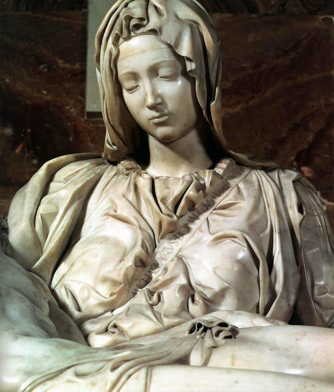 Pieta signed by Michelangelo, St Peter's Basilica, Rome