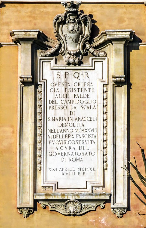 Plaque, church of Santa Rita da Cascia in Campitelli, Rome