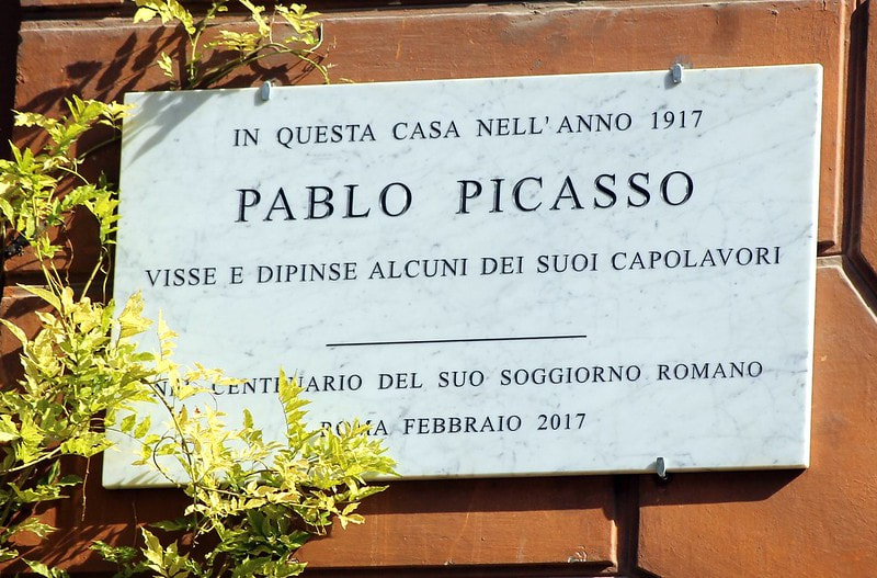 Plaque to Pablo Picasso, Via Margutta, Rome.