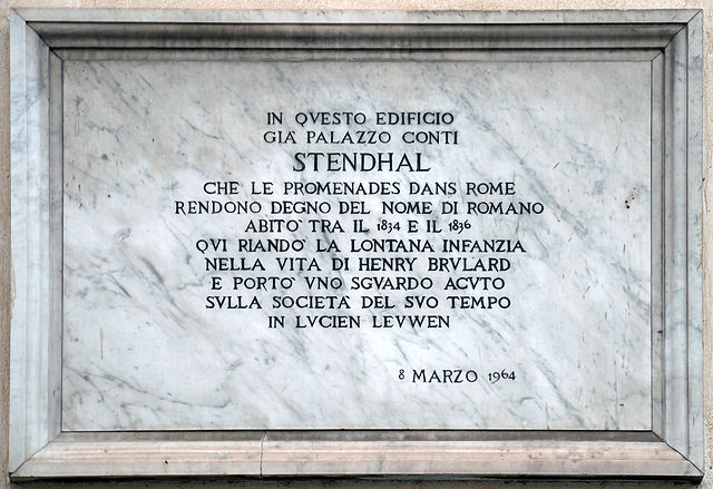 Plaque to the French Writer Stendhal, Hotel Minerva, Rome