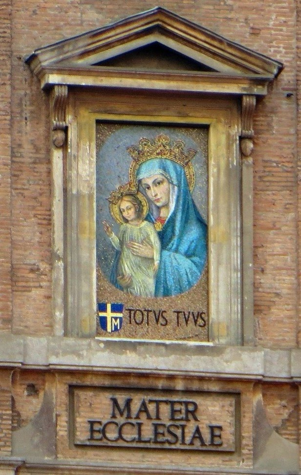 Pope John Paul II and the mosaic of the Virgin and Child, Vatican City, Rome