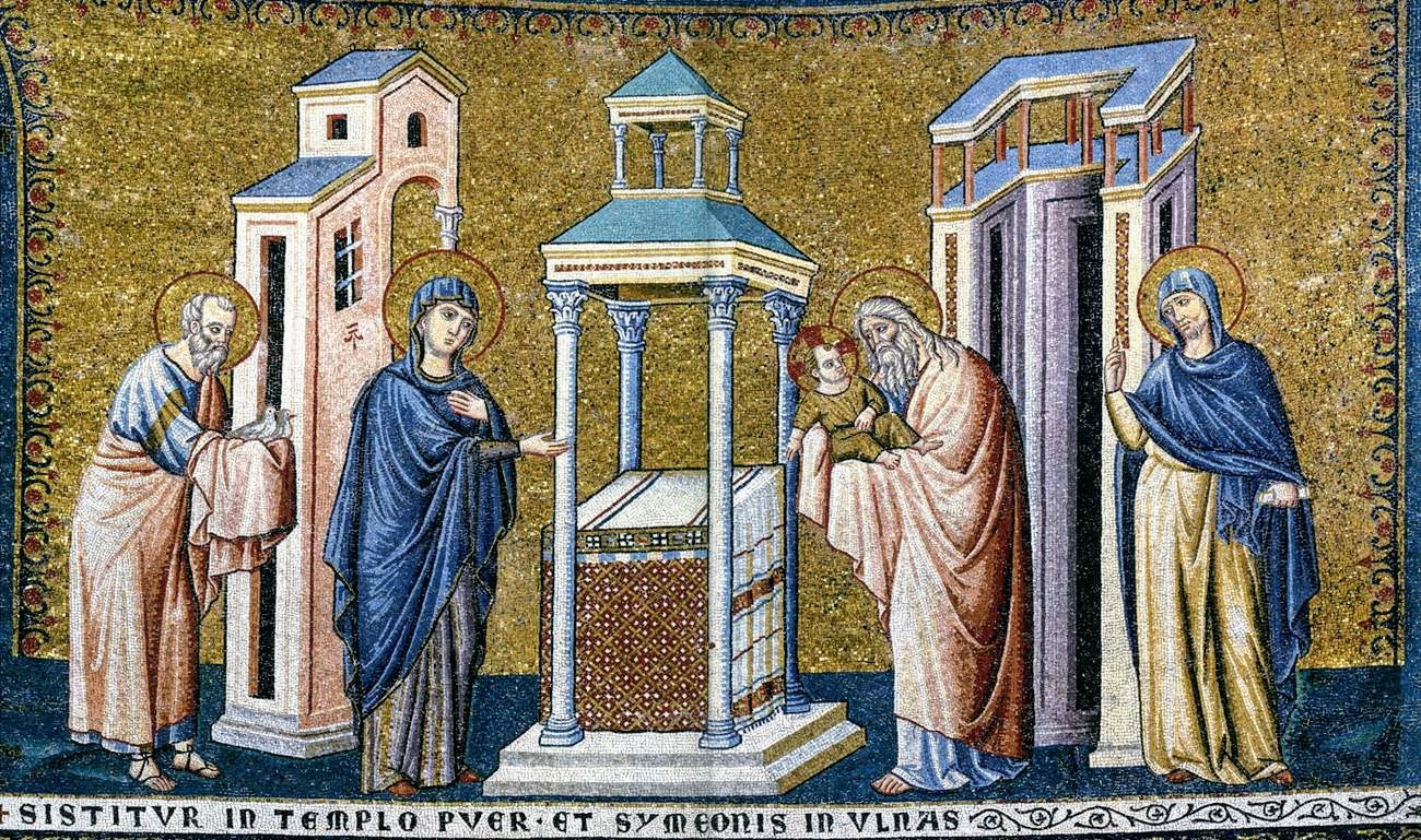 Presentation of Christ in the Temple, mosaic by Pietro Cavallini, Santa Maria in Trastevere, Rome
