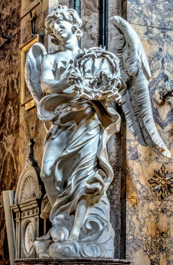 Angel with Crown of Thorns by Bernini, church of Sant' Andrea delle Fratte, Rome