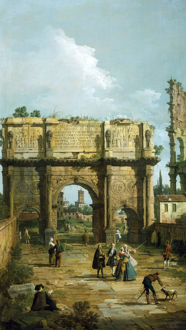 The Arch of Constantine, signed and dated (1742) by Canaletto, Royal Collection