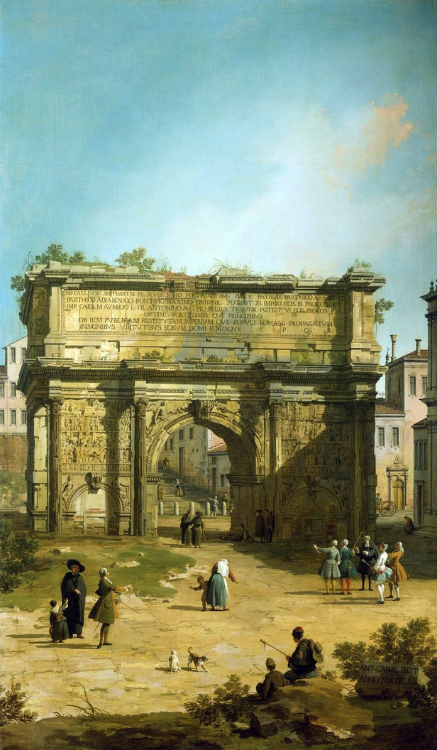 The Arch of Septimius Severus, signed and dated (1742) by Canaletto, Royal Collection