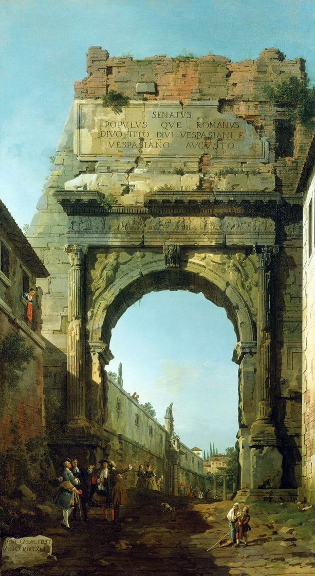 The Arch of Titus, signed and dated (1742) by Canaletto, Royal Collection