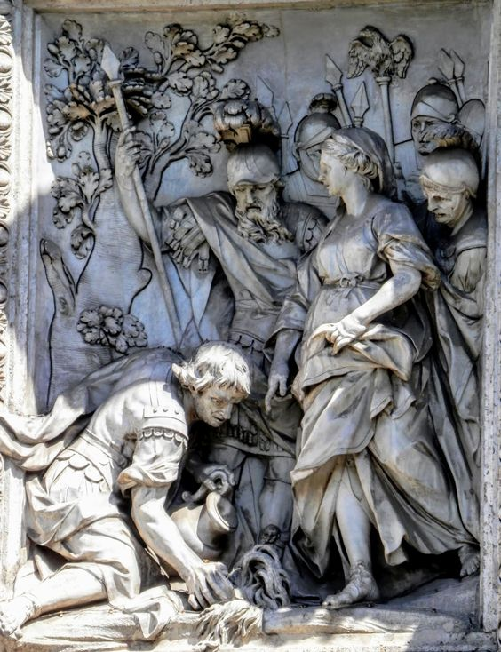 'A Young Woman Indicates the Spring to Some Soldiers', relief by Andrea Bergondi, Trevi Fountain, Rome.