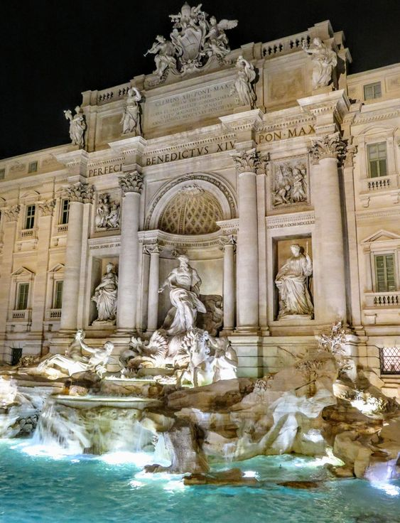 Rome's Trevi Fountain at night
