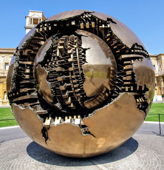 Sphere Within a Sphere, sculpture by Arnaldo Pomodoro, Vatican Museums, Rome
