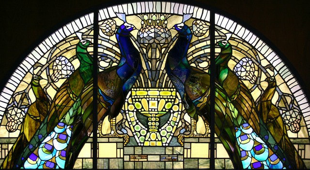 Stained glass window with peacocks, House of the Owls (Casina delle Civette), Rome