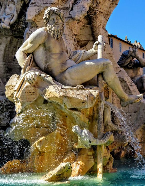 Statue of the river Ganges, Fountain of the Four Rivers, Piazza Navona, Rome