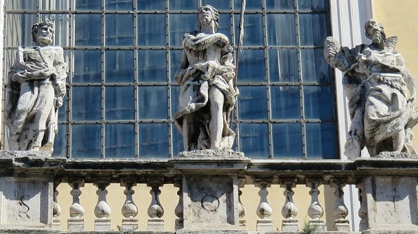 Statues on the facade of the church of Santi Apostoli, Rome