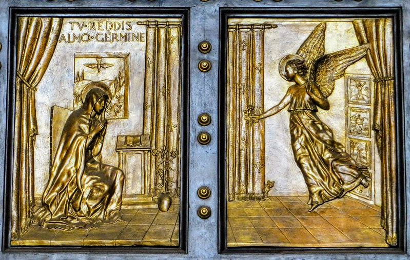 The Annunciation, Holy Door by Vico Consorti, St Peter's Basilica, Rome